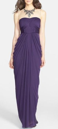 Purple Embellished & Draped Mesh Gown