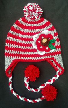 ff5a54eae60 Items similar to Ohio State Baby Hat Girls Womens Striped Winter Hat on Etsy