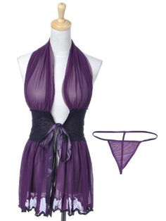 Anna-Kaci S/M Fit Purple Low Cut Sheer Plunge Halter Negligee Matching G-String $17.99