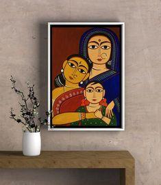 Art Print - 3 Generations of Women Ethnic Indian Jamini Roy Inspired Modern Indian Art, Indian Folk Art, Small Canvas Art, Mini Canvas Art, Easy Canvas Painting, Madhubani Painting, Jamini Roy, Bengali Art, Mandala Art Lesson