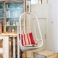 also black & natural Rattan Hanging Chair in White Egg Swing Chair, Hanging Hammock Chair, Swinging Chair, Hanging Chairs, Chaise Ikea, Ikea Chair, Dining Room Table Chairs, Living Room Chairs, Dinner Chairs