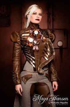 Steampunk its more than an aesthetic style, it's the longing for the past that never was. In Steampunk Girls we display professional pictures, and illustrations of Steampunk, Dieselpunk and other anachronistic 'punks. Some cosplay too! Moda Steampunk, Steampunk Couture, Steampunk Corset, Steampunk Design, Victorian Steampunk, Steampunk Clothing, Steampunk Fashion, Gothic Fashion, Gothic Clothing