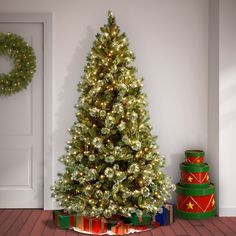 Wintry Pine 7.5' White/Green Artificial Christmas Tree with 650 Clear/White Lights & Reviews | Birch Lane