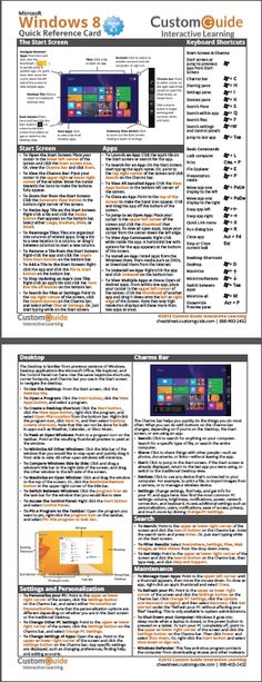Free Windows 8 Cheat Sheet  http://www.customguide.com/cheat_sheets/windows-8-cheat-sheet.pdf