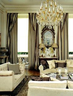 elegant-interior-design-champagne-white-gray-cream-gold-accents-white-sofas-tall-windows-silk-curtains-high-end-decor-livestyle-  MIRROR & COMMODE