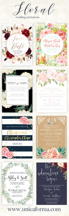 Floral custom wedding invitations! Flower designs for any wedding. Marsala invitations, spring invitations, blush wedding invites, elegant wedding invitations with a classic touch, navy striped invitations, rustic wedding invitation, greenery wedding invite, navy and marsala and gold wedding invitation all from Unica Forma