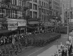 The Fourth of July parade in Downtown Los Angeles along Broadway, 1942. (Los Angeles Public Library Photo Collection)