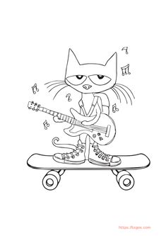 Pete The Cat Coloring Page Play Guitar and Skateboard