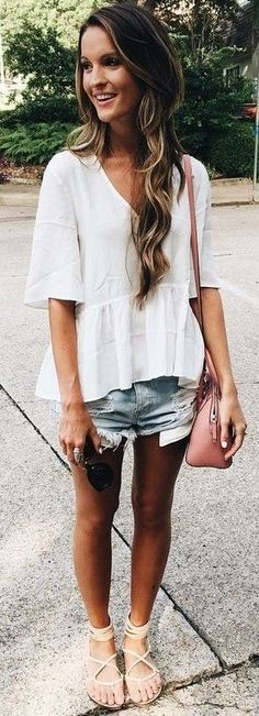 #Summer #Outfits / V-Neck White Top + Denim Short Shorts