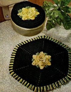 NEW! Rose Bathroom Set crochet pattern from Knit & Crochet with Heavy Rug Yarn, Star Book No. 191.