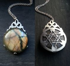 Metatron's Cube Labradorite Pendant - Handcut sterling silver and labradorite - Handcrafted Sacred Geometry Jewellery