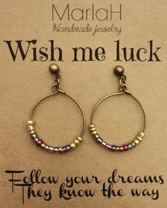 Wish Me Luck, Jewelry Quotes Card, Boho Vintage Hoop Earrings, Antique Brass…