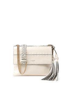 L0L23 Lanvin Nomad Small Crossbody Bag w/Tassels, White