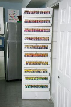 Organizing My Craft Paint Storage Shelves Tutorial Someday I will do this! Acrylic Paint Storage, Craft Paint Storage, Paint Organization, Scrapbook Organization, Art Storage, Storage Shelves, Door Storage, Organization Ideas, Storage Ideas