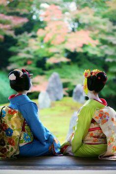 Maiko, Satuki and Mamefuji. Kyoto. Japan.