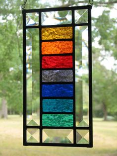 RAINBOW Stained Glass Suncatcher by BrightMoonDesigns
