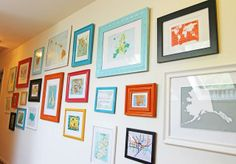 Make your own colorful map gallery, with painted dime store frames and free prints from the web!
