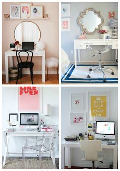 Desk/vanity combos. Put it next to the bed and you have a nightstand as well.