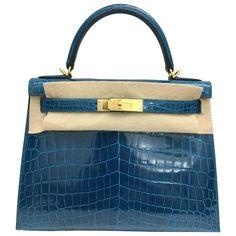 4c368870e228 Brand New Hermes Kelly 28 Blue Izmir Shiny Croc GHW