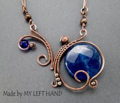 Copper Necklace Jade Wire Wrapped Copper by MadeByMyLeftHand