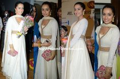 Wearing a Sabyasachi anarkali, Shraddha attended the Pt. Deenanath Mangeshkar Awards in Mumbai on Thursday evening with earings from Amrapali.  The white and gold look needed a bit of a pop and it came via the pink LoveToBag clutch.  She looked pretty.