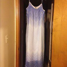 Maxi dress Cobalt blue/ white 100% Polyester Robbie Bee Dresses Maxi