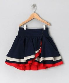 Navy & Red Wrap Skirt - Girls by Aioty & Masala Baby