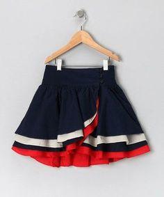 Navy & Red Wrap Skirt - Girls by Aioty & Masala Baby Baby Girl Skirts, Baby Skirt, Little Girl Dresses, Baby Dress, Girls Dresses, Toddler Skirt, Skirts For Kids, Kids Frocks, Girl Dress Patterns