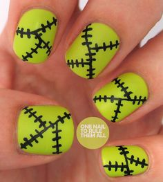 Use lime green polish and a black nail-art pen or a small nail-art brush to create this classic Halloween design. Paint one line across each nail and two smaller lines off the first line to achieve One Nail to Rule Them All's whimsical Frankenstein theme. Paint several smaller lines over your first three lines for a stitched effect. Don't worry about keeping things perfectly straight—this nail design looks more authentic with curved and uneven lines.