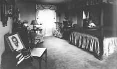 A 1931 photo of the master bedroom in Douglas Fairbanks Jr and Joan Crawford's Brentwood home.  Note the picture of Douglas on the side table in the left foreground. <3