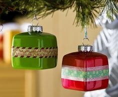 Easy painted washi tape ornaments