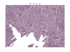 Oslo Map Art Print Norway Poster by CartoCreative on Etsy