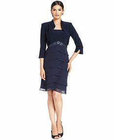 Jessica Howard Petite Dress and Jacket, Sleeveless Jewel-Waist Tiered