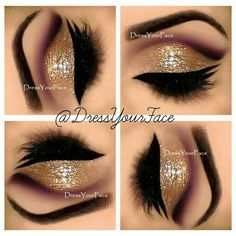 Gold glitter and purple cut crease