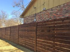 Horizontal side by side cedar fence with gaps. Installed by Titan Fence & Supply Company. Building A Fence, Horizontal Fence, Cedar Fence, Build Your Own, New Homes, Outdoor Decor, House, Design, Home Decor