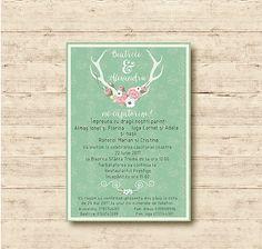Boho Wedding Invitation  Mint Invitation Watercolor Floral