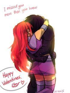Robin Starfire, Teen Titans Starfire, Nightwing And Starfire, Teen Titans Love, Original Teen Titans, Teen Titans Fanart, Beast Boy, Couple Cartoon, Young Justice