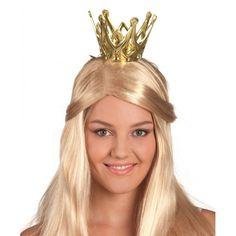 Gouden prinsessen kroontje. Het kroontje is voorzien van een elastiek.