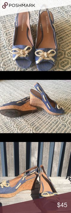 Franco sarto wedges Light denim blue nautical wedges. Worn only a handful of times Franco Sarto Shoes Wedges