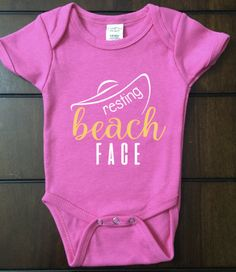 Resting 'BEACH' Face Onesie, RBF, Baby Clothing, Unique Gift, Customizable, Bodysuit, Beach life, Summertime, Ocean, Vacation,Big Hat by ABCvinyl on Etsy