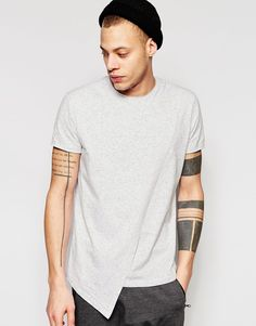 Image 1 of ASOS Super Longline T-Shirt In Fabric Interest With Mock Layer