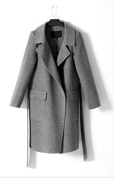 Grey Gray wool coat cashmere coat woman winter coat by KddStudio