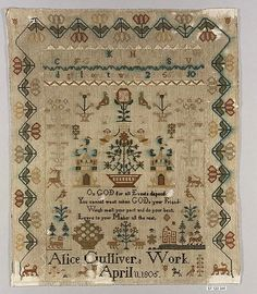 Sampler                                                                                 Date:                                      1805                                                       Culture:                                      British                                                       Medium:                                      Silk on wool canvas