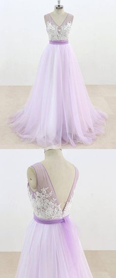 Lilac V Neck Sleeveless Tulle Wedding Dress Lace Appliqued Bridal Gown with Belt Gorgeous Prom Dresses, Sexy Wedding Dresses, Elegant Wedding Dress, Bridal Dresses, Wedding Attire, Chic Wedding, Wedding Gowns, Long Gown For Wedding, Tulle Wedding