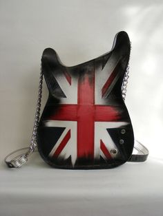 Leather purse. Handmade Eco Sustainable Leather Bag. Union Jack Guitar Shaped Bag. Handbag. LARGE Strato Bag.Crossbody Bag. Made to order
