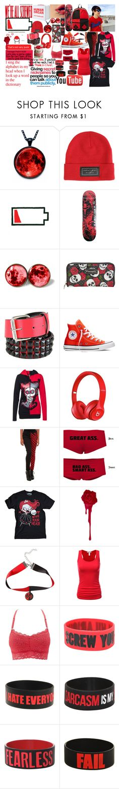 """""""Red??? FT. Colby Brock IDEK!"""" by michael-cliffords-girl-0302 ❤ liked on Polyvore featuring Humör, Darkstar, Loungefly, Converse, Mad Love, Tripp and Charlotte Russe"""