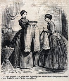 """There, darling, I've made those all to-day; the will make the third pair of drawers I have finished to send off to the poor soldiers. Victorian Life, Victorian Corset, Victorian Costume, Victorian Women, Victorian Fashion, Magazine Pictures, 19th Century Fashion, Historical Pictures, Fashion Plates"