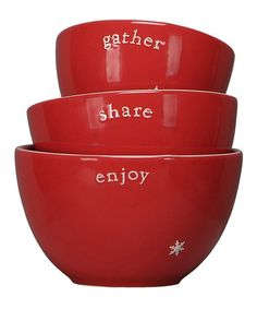 Take a look at this Red Snowflake 'Gather, Share, Enjoy' Bowl Set by Primitives by Kathy on #zulily today!