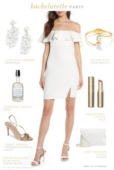 deaea3583ec Outfit with white dress for Bride-to-Be for bachelorette party or rehearsal  dinner