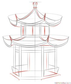 How to draw how the Chinese Pagoda | Step by step Drawing tutorials